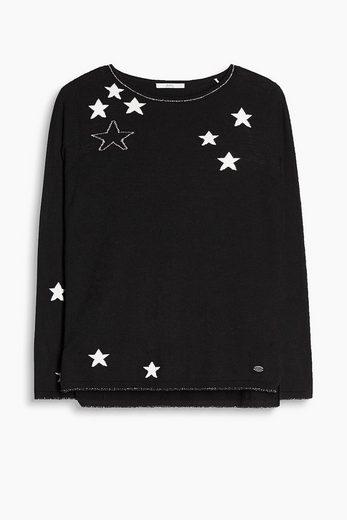 EDC BY ESPRIT Stern-Pullover mit Baumwolle