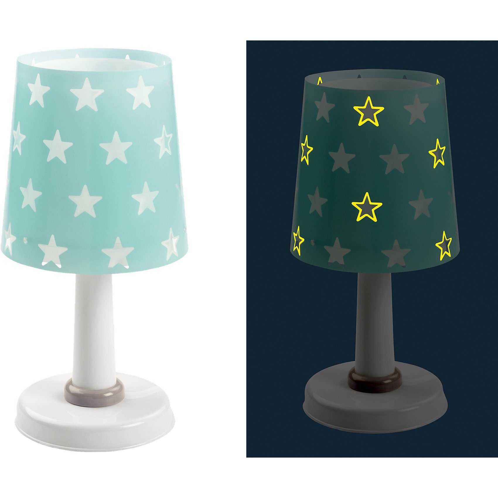 Dalber Tischlampe STARS, Glow in the dark, türkis