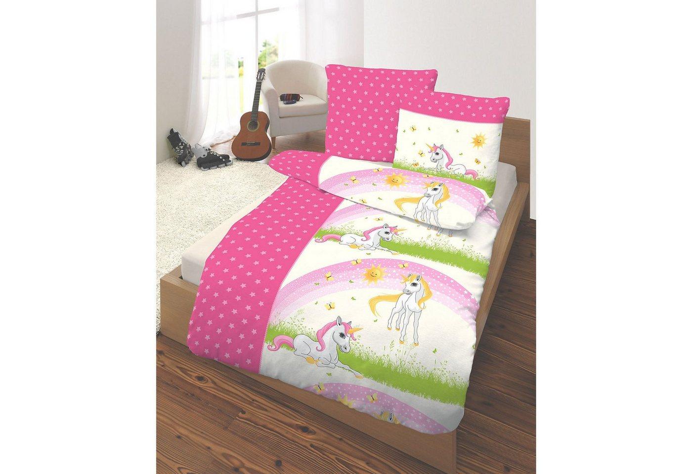 Kinderbettwäsche Einhorn, Renforcé, 135 x 200 cm | Kinderzimmer > Textilien für Kinder > Kinderbettwäsche | Rosa | OTTO
