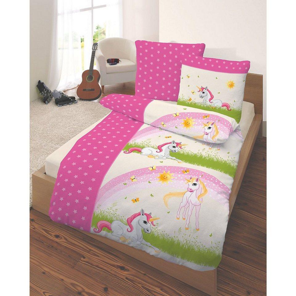 kinderbettw sche einhorn biber 135 x 200 cm otto. Black Bedroom Furniture Sets. Home Design Ideas