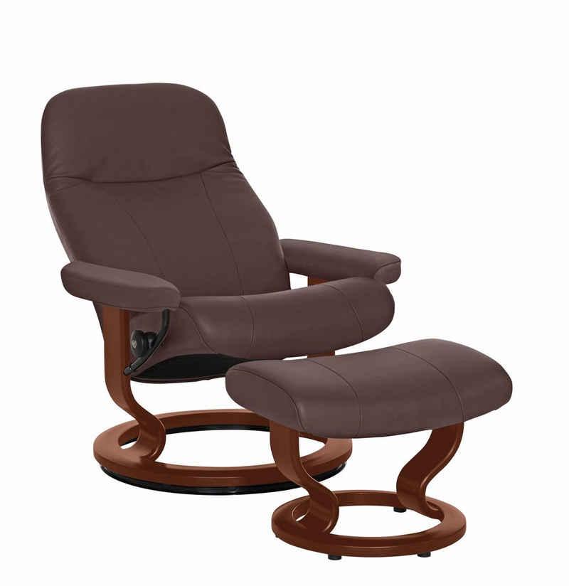 Stressless® Relaxsessel »Garda« (Set, Relaxsessel mit Hocker), mit Hocker, mit Classic Base, Größe M, Gestell Braun