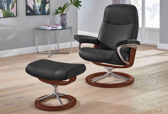 Stressless® Relaxsessel »Garda« (Set, Relaxsessel mit Hocker), mit Hocker, mit Signature Base, Größe L, Gestell Braun