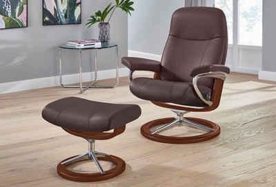 Stressless® Relaxsessel »Garda« (Set, Relaxsessel mit Hocker), mit Hocker, mit Signature Base, Größe M, Gestell Braun