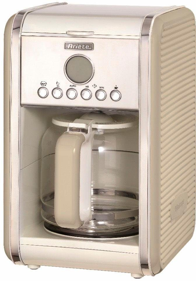 Ariete Filterkaffeemaschine Vintage 1342, 1,5l Kaffeekanne, Permanentfilter, Startzeit Kaffeezubereitung programmierbar und Unterbrechung der Zubereitung