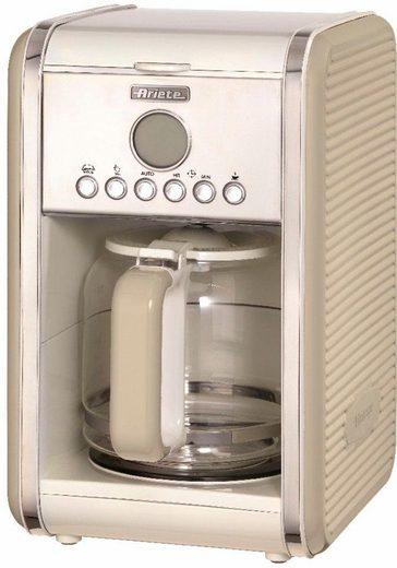 Ariete Filterkaffeemaschine Vintage 1342, cremefarben, 1,5l Kaffeekanne, Permanentfilter, Startzeit Kaffeezubereitung programmierbar und Unterbrechung der Zubereitung