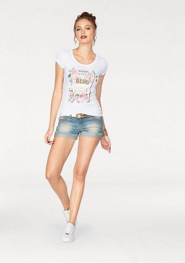 Melrose Rundhalsshirt, mit Glitzer-Print