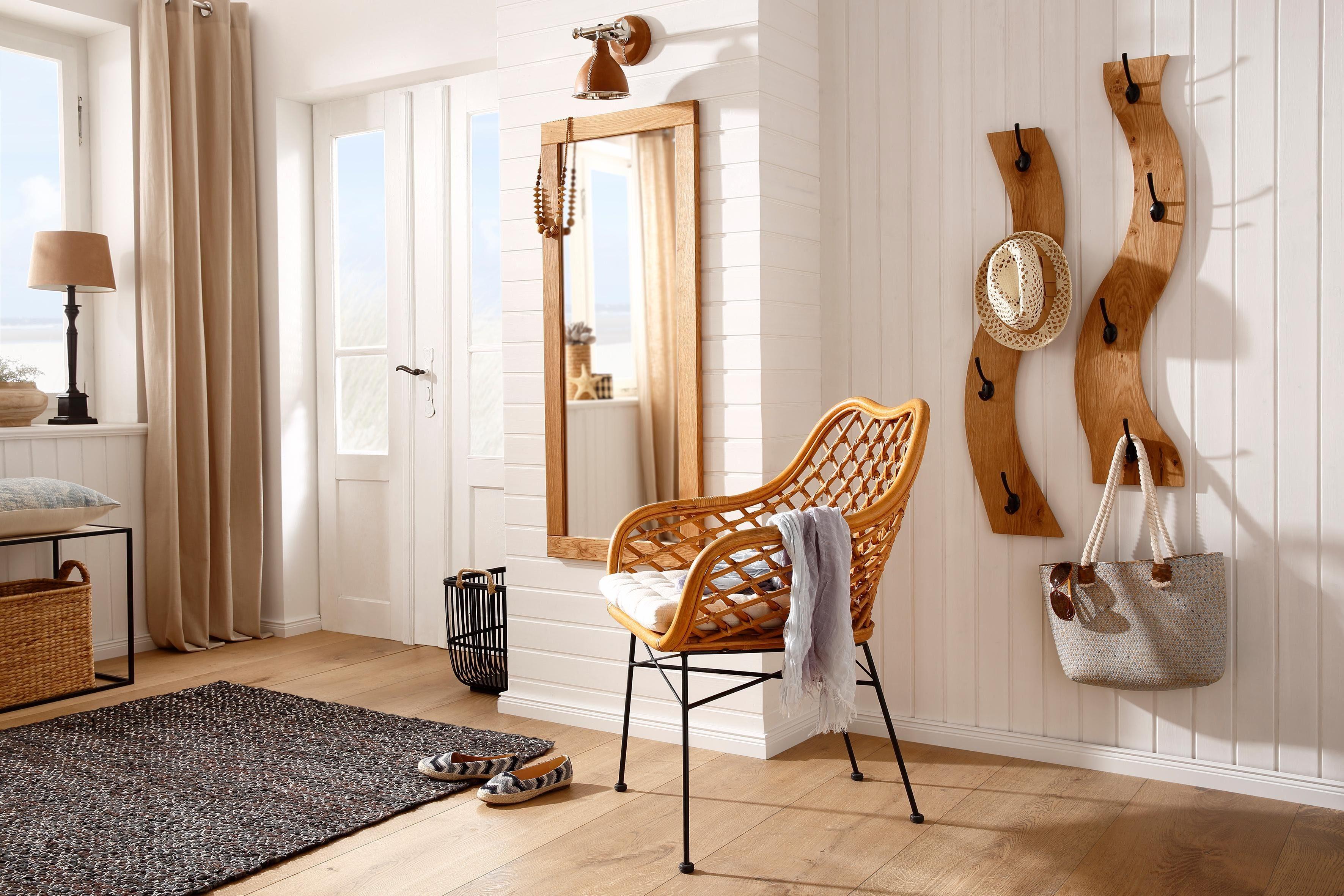 Home affaire Garderobenpaneel in Wellenoptik als 2er-Set, aus massiver Eiche