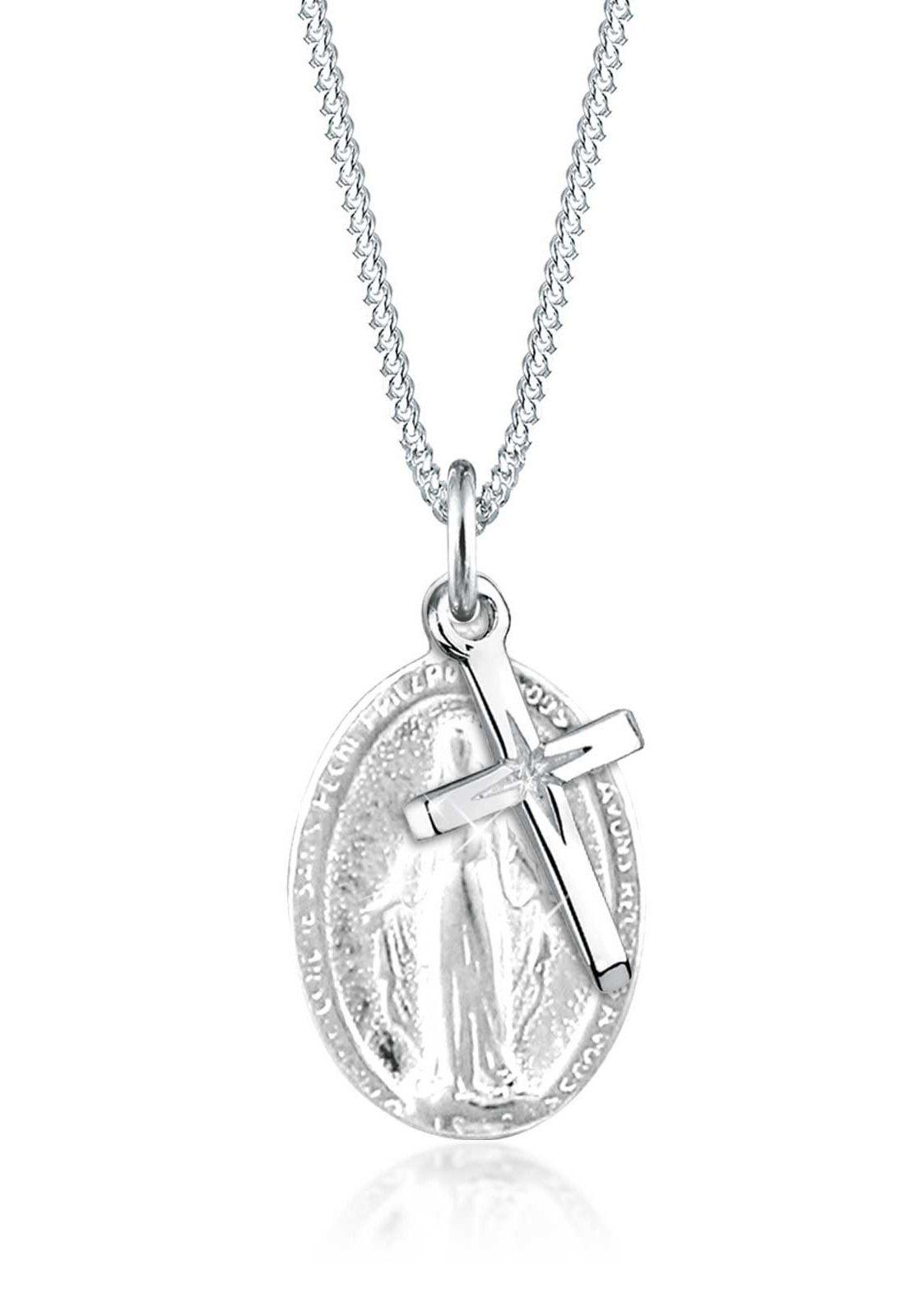 Elli Halskette »Marienbild Kreuz Konfirmation Kommunion 925 Silber«