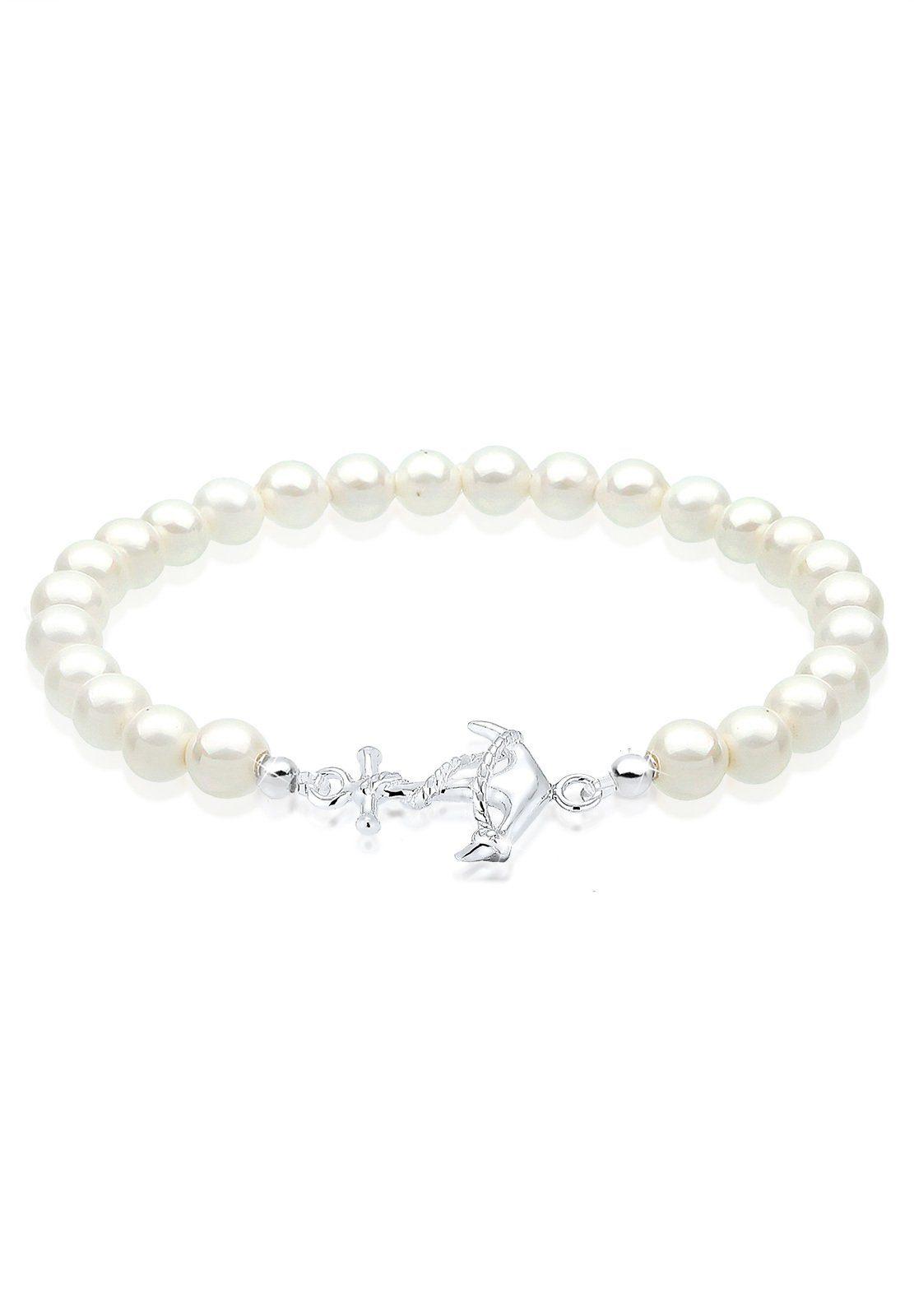 Elli Armband »Anker Maritim Muschelkernperle 925 Silber Seoul«