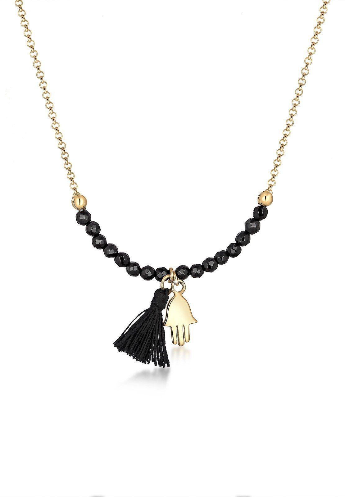 Elli Halskette »Hamsa Hand Fassel Onyx 925 Sterling Silber«