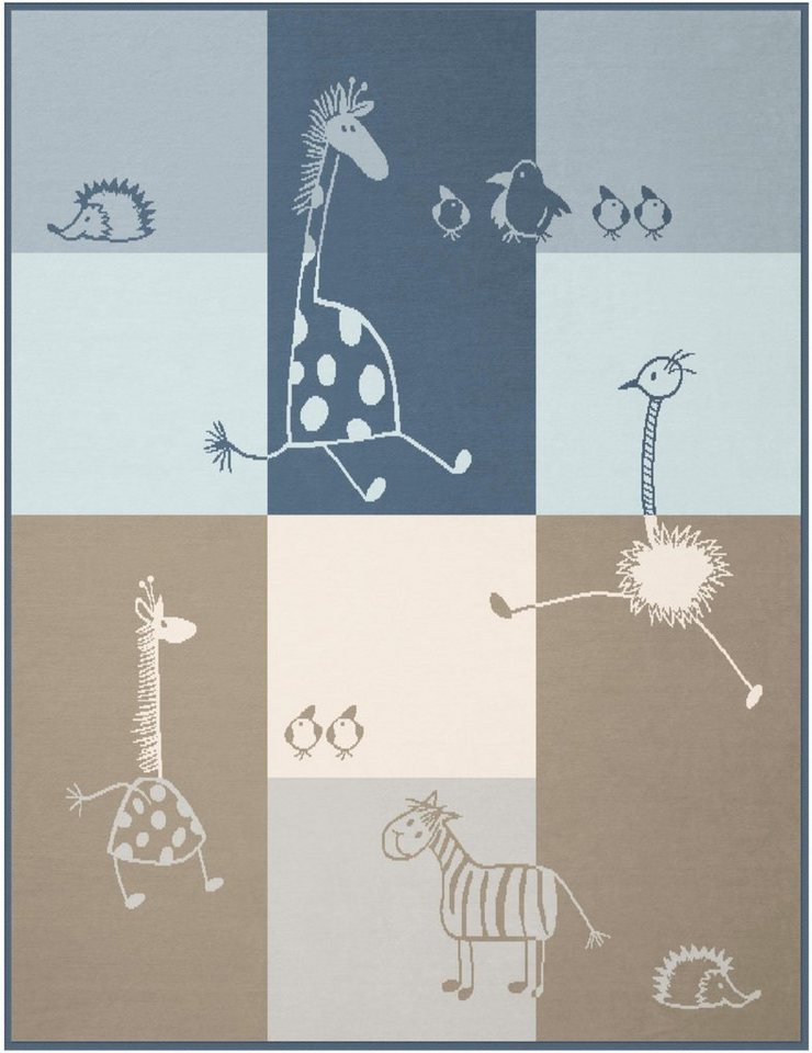 babydecke biederlack lovely comic mit tier motiv. Black Bedroom Furniture Sets. Home Design Ideas