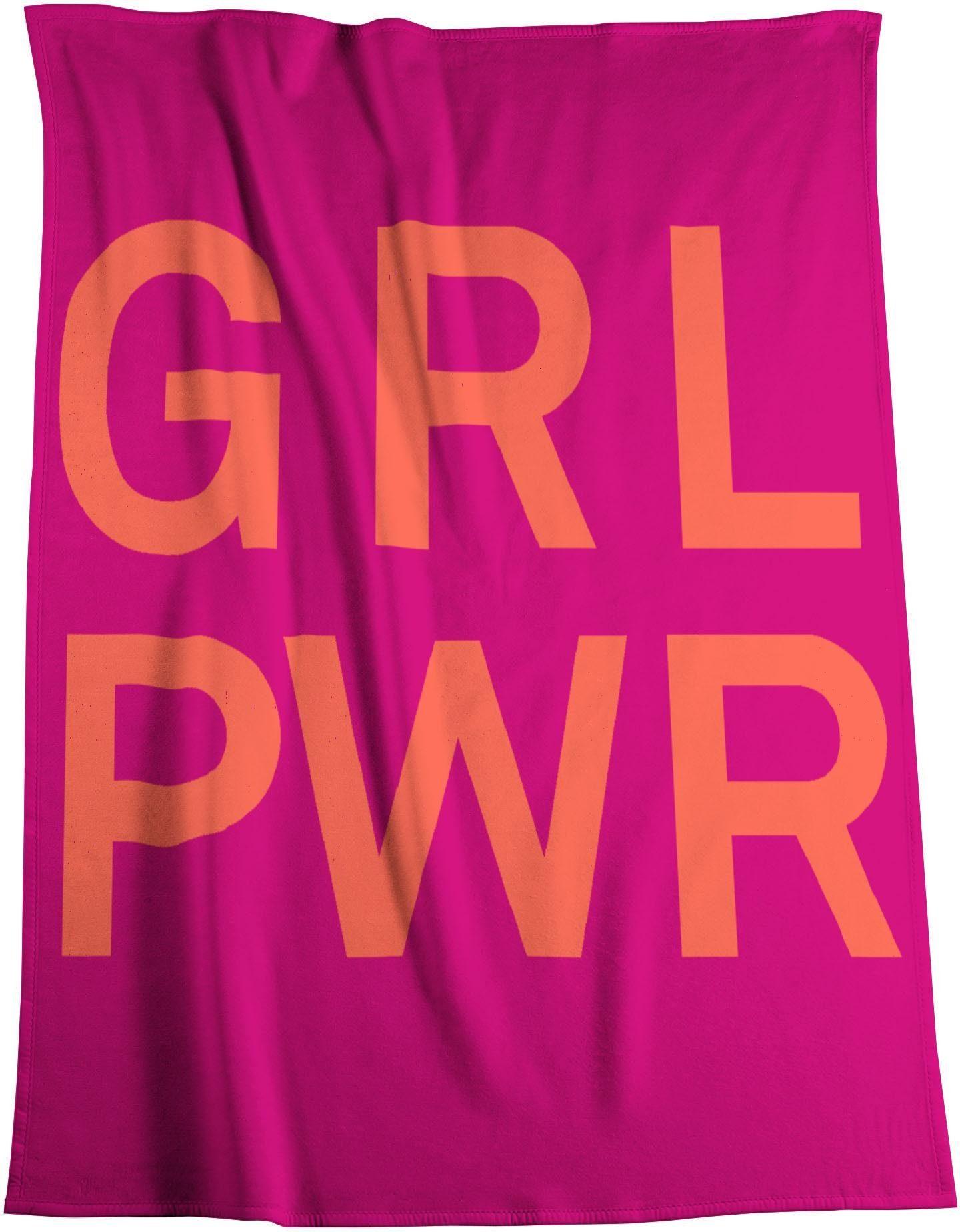 Wohndecke »Girl Power«, BIEDERLACK, mit Schriftzug