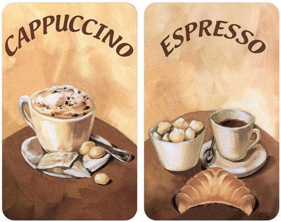 WENKO Herd-Abdeckplatte »Kaffee«, Glas, (Set, 2 tlg), kratzfest