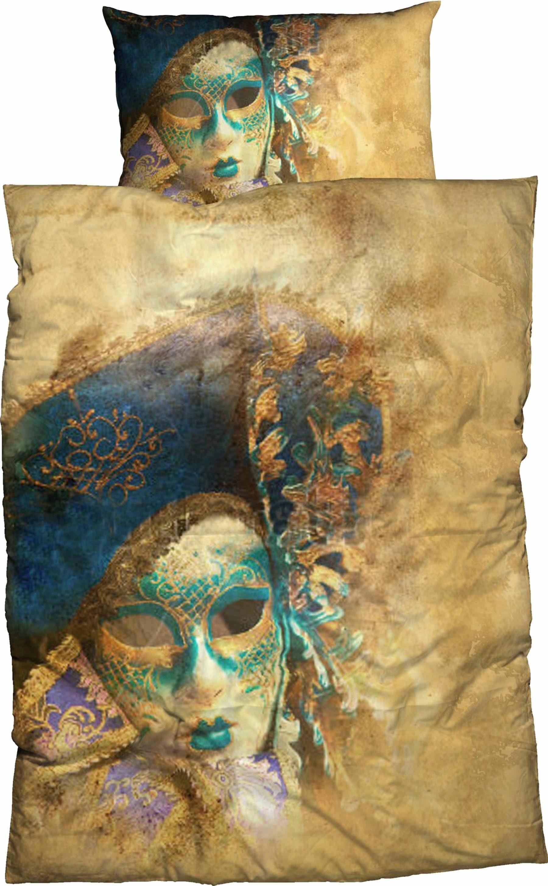 Bettwäsche, Sister S, »Carneval«, mit Maskenmotiv
