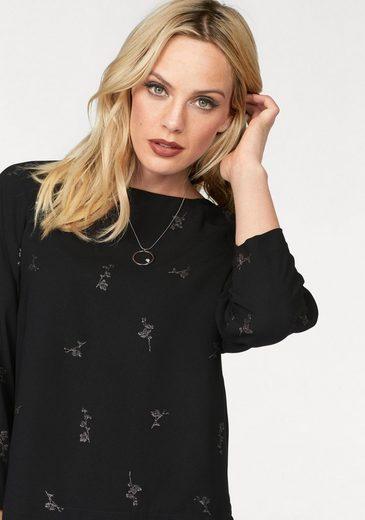 Vero Moda Druckbluse FIONA, mit silberfarbenem Blumendruck