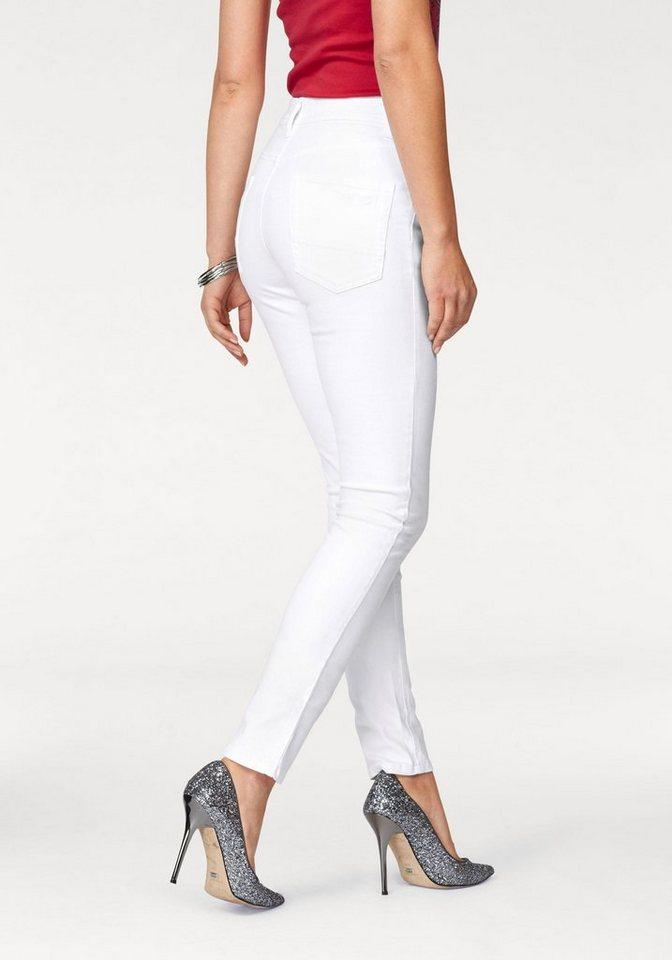 Arizona Röhrenjeans »mit sichtbarer Knopfleiste« High Waist   Bekleidung > Jeans > Röhrenjeans   Weiß   Baumwolle   Arizona