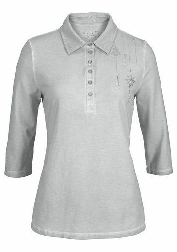 TONI Poloshirt, Antiklook und kleiner Druck mit Glitzersteinen