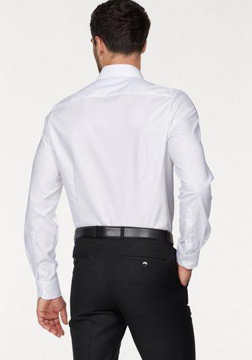 OLYMP Businesshemd Level Five body fit, Gewebtes Muster, edler Glanz