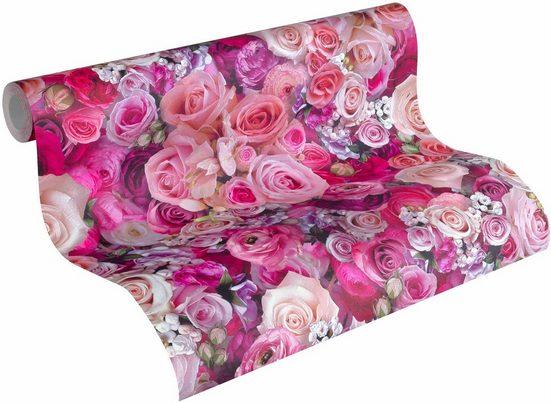 Vliestapete »Urban Flowers 32722«, floral, glänzend, FSC®