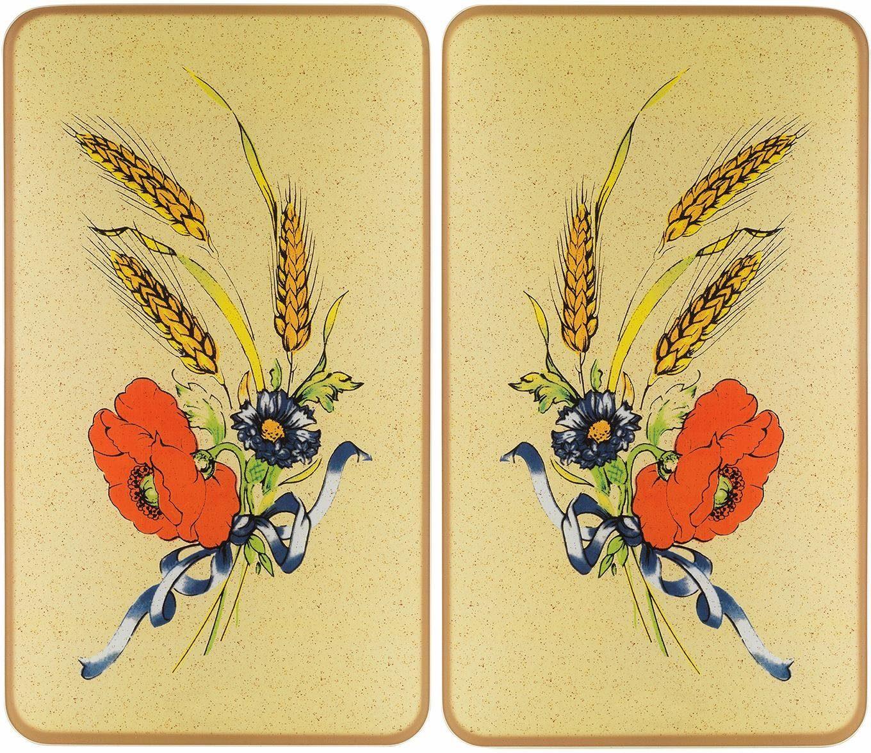 Wenko Herdabdeckplatte, 2er Set, 30 x 52 cm, »Kornblumen«
