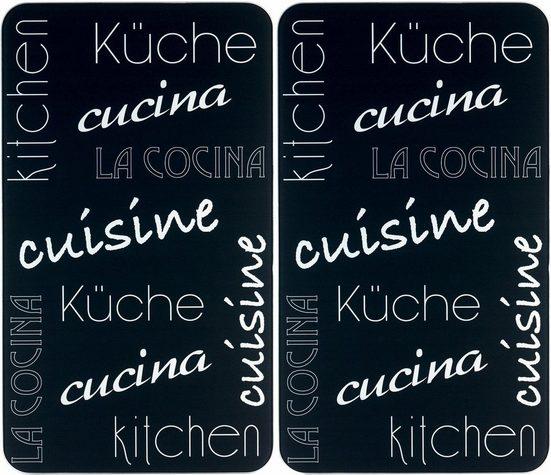 WENKO Herd-Abdeckplatte »Küche International«, Glas, (Set, 2 tlg), rutschfesten Spezialfüße