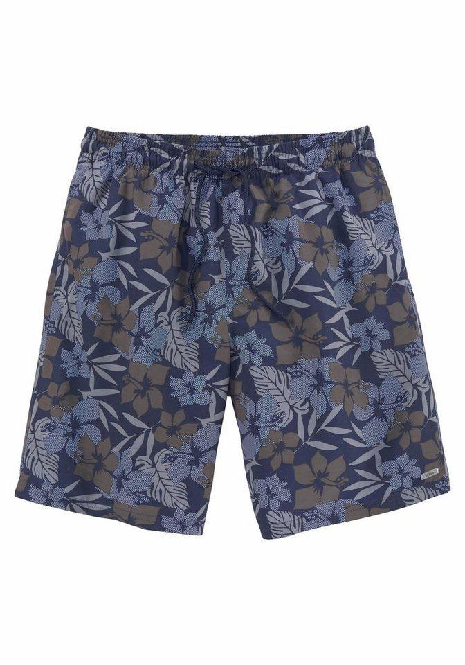 Herren s.Oliver RED LABEL Beachwear  Badeshorts mit Blumendruck grün | 04897037878612