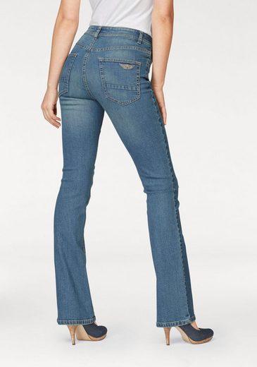 Arizona Bootcut-Jeans mit sichtbarer Knopfleiste, High Waist
