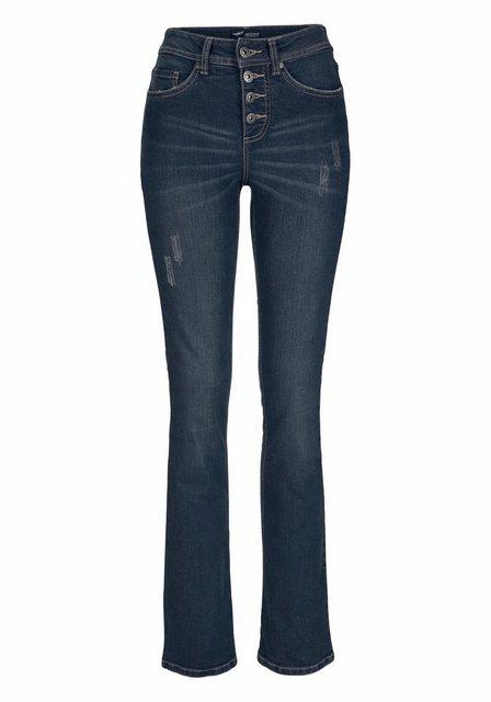 Hosen - Arizona Bootcut Jeans »mit sichtbarer Knopfleiste« High Waist › blau  - Onlineshop OTTO