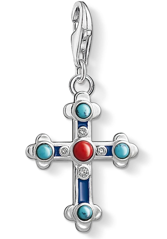 THOMAS SABO Charm-Einhänger »Kreuz, 1466-335-7« imit. Türkis, Zirkonia, imit. Koralle