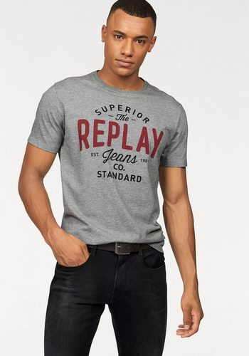 Herren Replay T-Shirt mit Markenprint grau   08054381756683