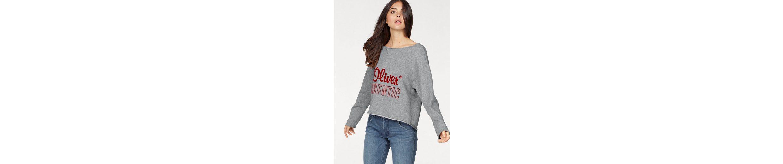 s.Oliver RED LABEL Sweater, mit samtigen Logodruck auf Vor- und Rückseite