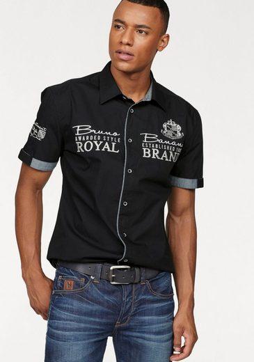 Bruno Banani Kurzarmhemd mit hochwertigen Stickereien