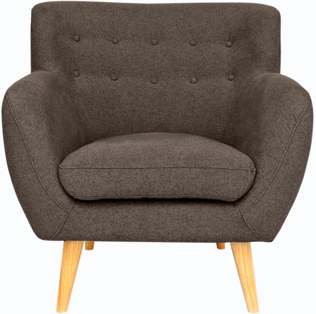 Home affaire Sessel »Noris« mit Zierknopfheftung im Rücken, skandinavischer Stil, Holzfüße - Home affaire
