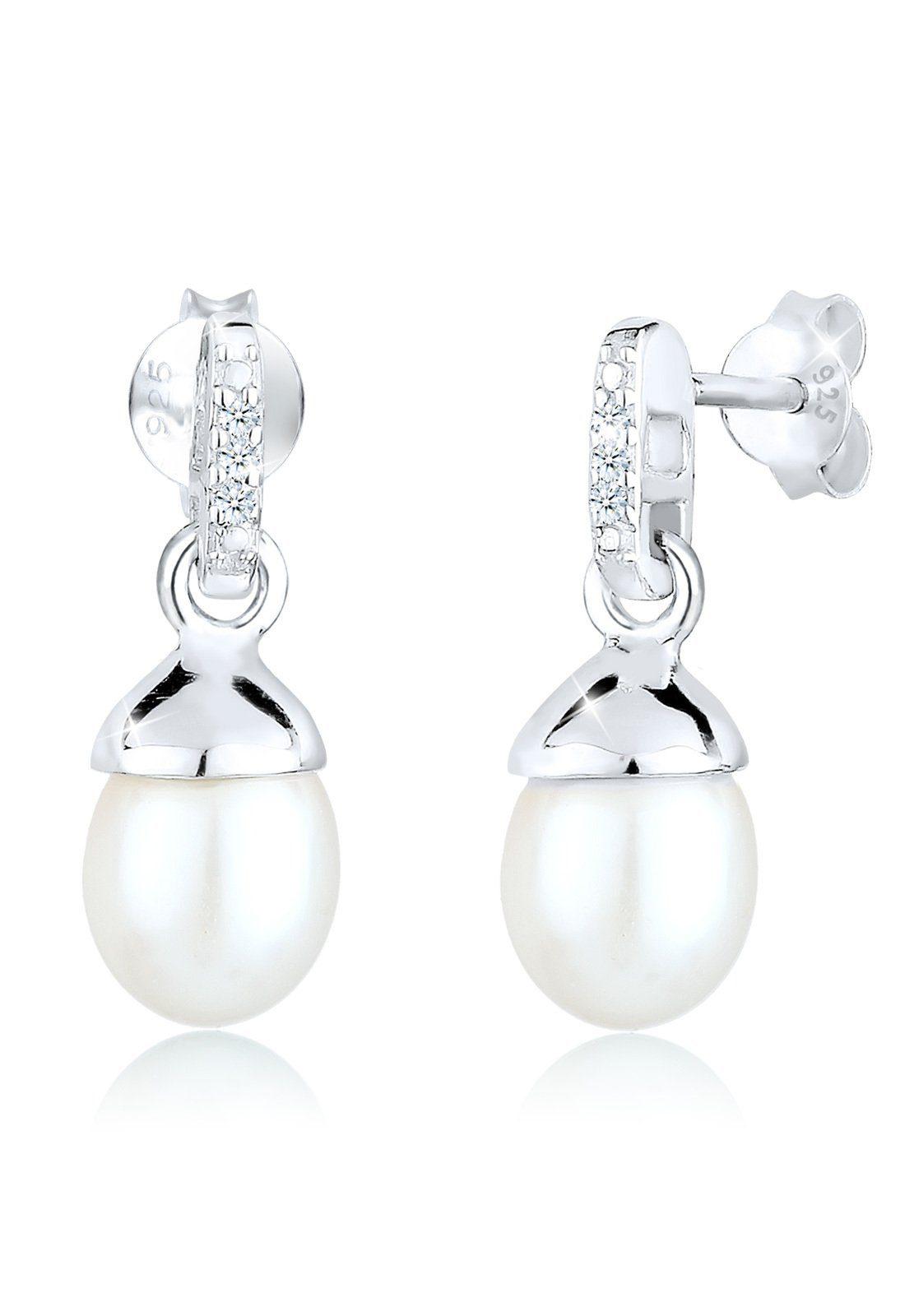 Diamore Ohrringe »Süßwasserzuchtperle Diamant 0.06 ct. 925 Silber«