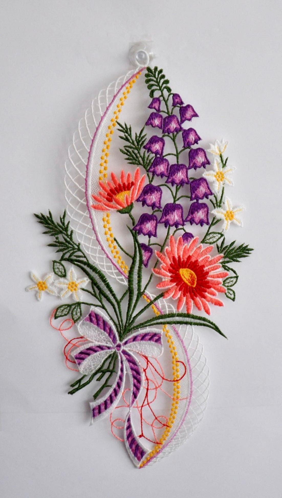 Fensterbild, Stickereien Plauen, »Blütenzauber«