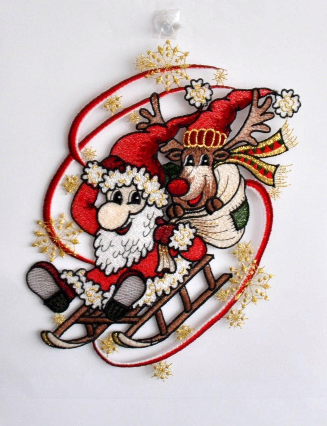 Fensterbild, Stickereien Plauen, »Weihnachtsmann mit Schlitten«