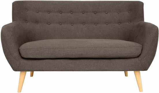 Home affaire 2-Sitzer »Noris«, mit Zierknopfheftung im Rücken, skandinavischer Stil, Holzfüße