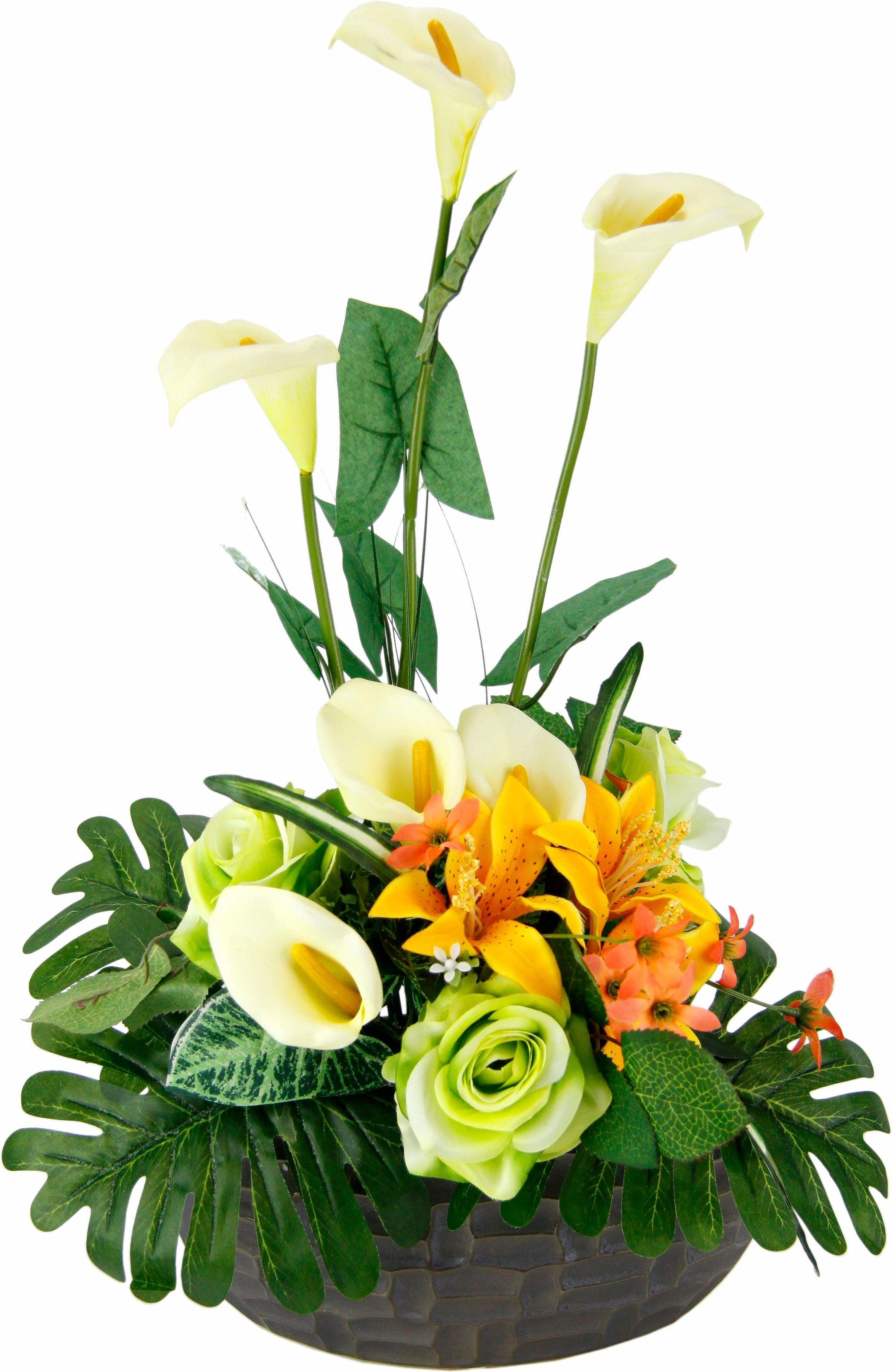 Kunstpflanze »Arrangement Calla/Blüten 56/33 cm«