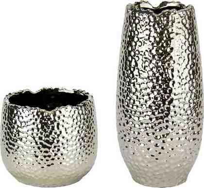 Home affaire »Keramik-Vasen« (2er Set) in versilberter und gehämmerter Optik