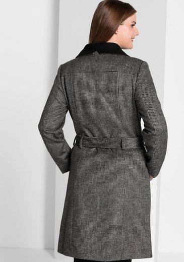 sheego Style Kurzmantel, Flauschig weich mit Hahnentritt-Muster