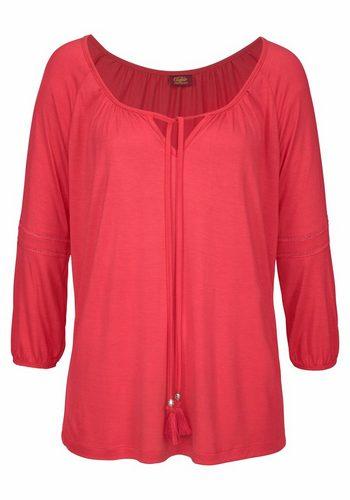 Damen Buffalo Strandshirt mit Häkeleinsatz am Arm rot | 08698826351851