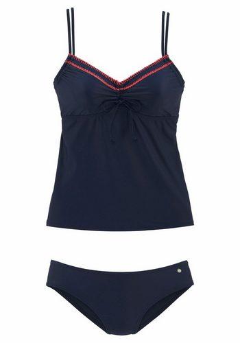 Damen s.Oliver RED LABEL Beachwear Bügel-Tankini mit Häkelkante blau | 04893865845024