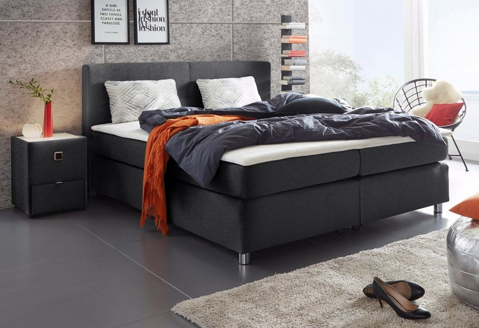 boxspringbett inkl topper und kissen kaufen otto. Black Bedroom Furniture Sets. Home Design Ideas