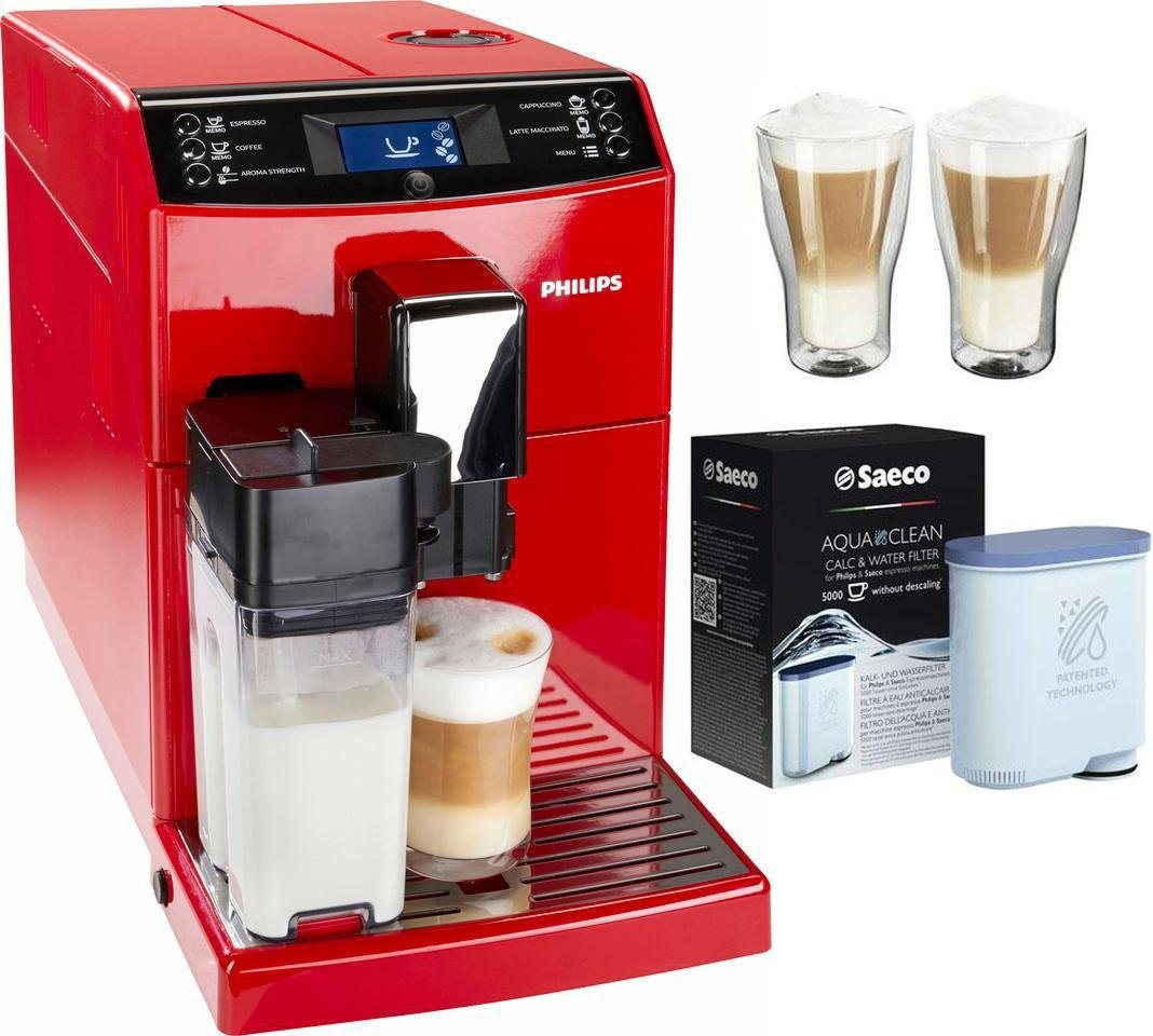 Philips Kaffeevollautomat EP3363/00, inkl. 2 Latte Macchiato Gläser und 1 AquaClean Filter - Philips