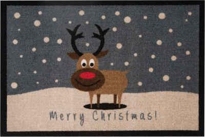 Fußmatte »ChristmasReindeer«, HANSE Home, rechteckig, Höhe 7 mm, Schmutzfangmatte, mit Spruch, In- und Outdoor geeignet