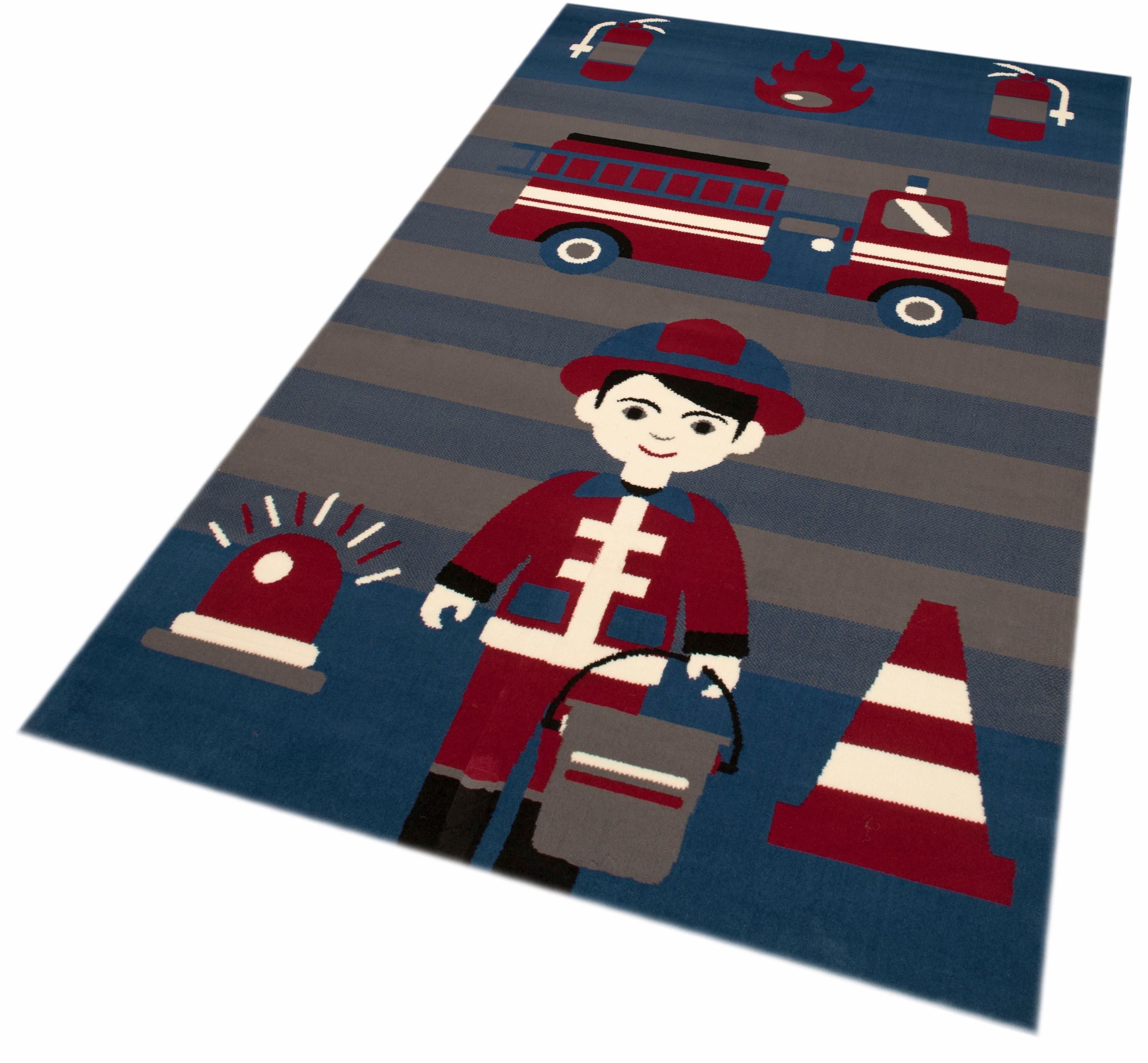 Kinderteppich »Feuerwehrmann«, Zala Living, rechteckig, Höhe 9 mm