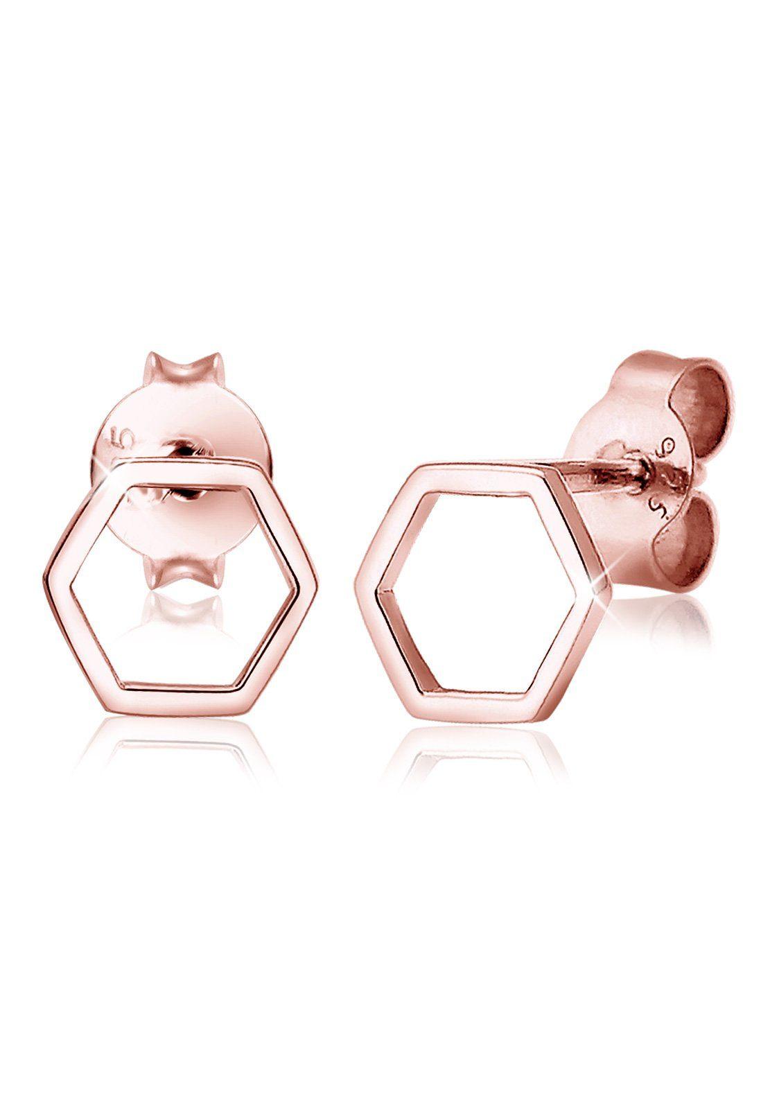 Elli Ohrringe »Hexagon Geo Trend Minimal Filigran rosé vergoldet«