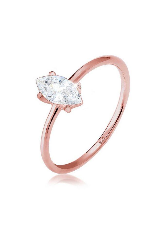 8b03e8d6a3621 Elli Ring »Verlobung Marquise Zirkonia Stein 925 Silber rosé« online ...