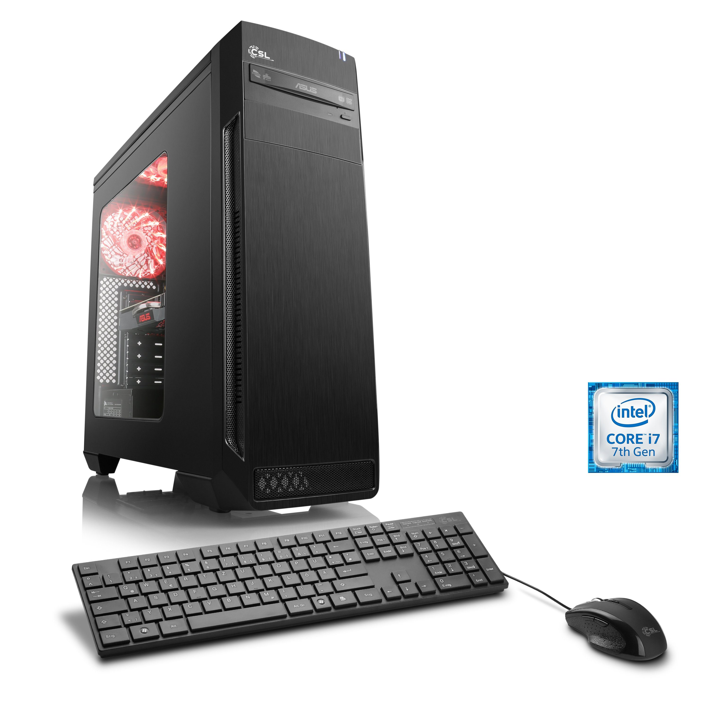 CSL Gaming PC | Core i7-7700 | GeForce GTX 1070 | 16 GB DDR4 | SSD »Speed T7666 Windows 10 Home«