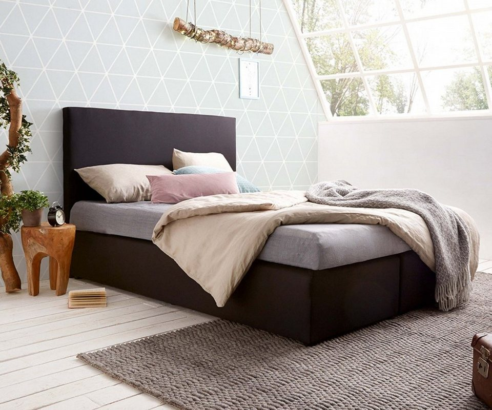 delife boxspringbett elexa schwarz 140x200 federkern online kaufen otto. Black Bedroom Furniture Sets. Home Design Ideas
